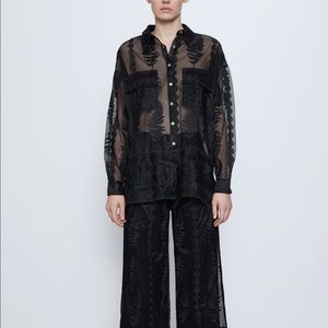 NWT Zara embroidered tulle shirt
